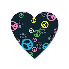 Peace & Love Pattern Heart Magnet by BangZart