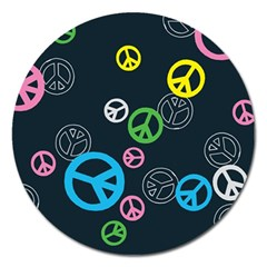 Peace & Love Pattern Magnet 5  (round) by BangZart