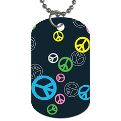 Peace & Love Pattern Dog Tag (one Side)