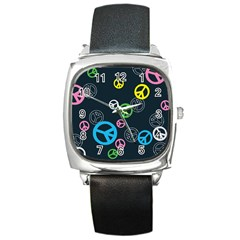 Peace & Love Pattern Square Metal Watch by BangZart