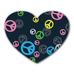 Peace & Love Pattern Heart Mousepads by BangZart