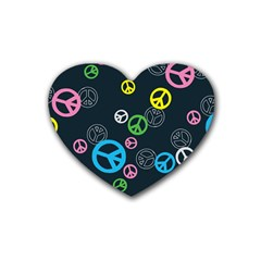 Peace & Love Pattern Rubber Coaster (heart)  by BangZart