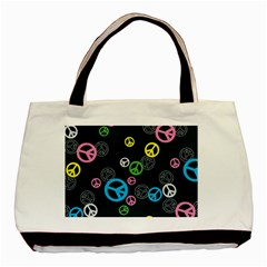 Peace & Love Pattern Basic Tote Bag (two Sides) by BangZart