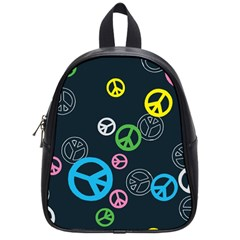 Peace & Love Pattern School Bags (small)  by BangZart