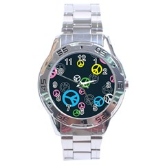 Peace & Love Pattern Stainless Steel Analogue Watch by BangZart