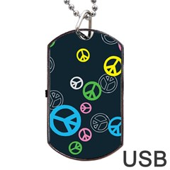 Peace & Love Pattern Dog Tag Usb Flash (two Sides) by BangZart