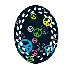 Peace & Love Pattern Ornament (oval Filigree) by BangZart