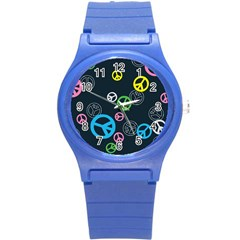 Peace & Love Pattern Round Plastic Sport Watch (s) by BangZart