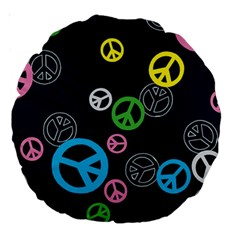Peace & Love Pattern Large 18  Premium Round Cushions by BangZart