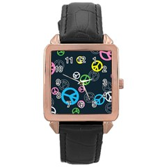 Peace & Love Pattern Rose Gold Leather Watch  by BangZart