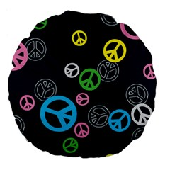 Peace & Love Pattern Large 18  Premium Flano Round Cushions by BangZart