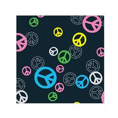 Peace & Love Pattern Small Satin Scarf (square) by BangZart