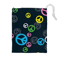 Peace & Love Pattern Drawstring Pouches (extra Large)