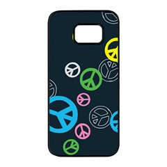 Peace & Love Pattern Samsung Galaxy S7 Edge Black Seamless Case