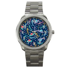 Alien Pattern Blue Sport Metal Watch by BangZart