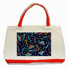 Alien Pattern Blue Classic Tote Bag (red)