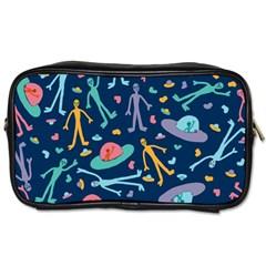 Alien Pattern Blue Toiletries Bags 2 Side