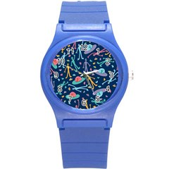 Alien Pattern Blue Round Plastic Sport Watch (s) by BangZart
