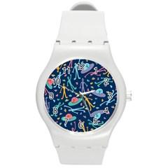 Alien Pattern Blue Round Plastic Sport Watch (m)