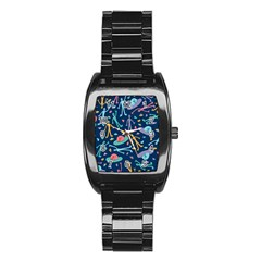 Alien Pattern Blue Stainless Steel Barrel Watch