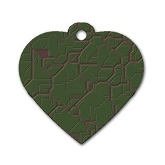 Alien Wires Texture Dog Tag Heart (one Side)