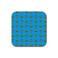 Alien Pattern Rubber Square Coaster (4 Pack)  by BangZart