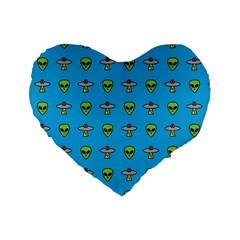 Alien Pattern Standard 16  Premium Heart Shape Cushions