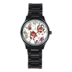 Texture Pattern Fabric Design Stainless Steel Round Watch by BangZart
