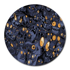 Monster Cover Pattern Round Mousepads