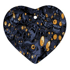 Monster Cover Pattern Heart Ornament (two Sides)
