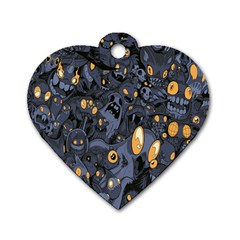 Monster Cover Pattern Dog Tag Heart (two Sides) by BangZart
