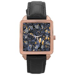 Monster Cover Pattern Rose Gold Leather Watch  by BangZart