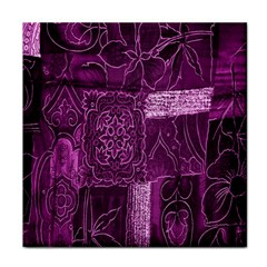 Purple Background Patchwork Flowers Tile Coasters by BangZart