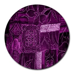 Purple Background Patchwork Flowers Round Mousepads