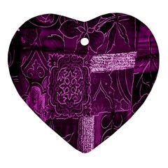 Purple Background Patchwork Flowers Ornament (heart)
