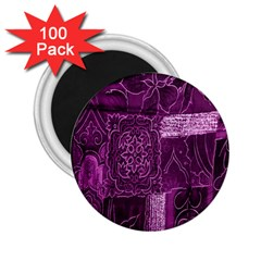 Purple Background Patchwork Flowers 2 25  Magnets (100 Pack)