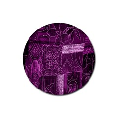 Purple Background Patchwork Flowers Rubber Round Coaster (4 Pack)  by BangZart