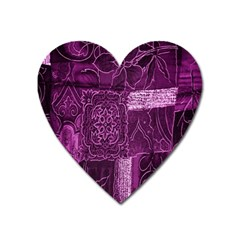 Purple Background Patchwork Flowers Heart Magnet by BangZart