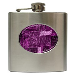 Purple Background Patchwork Flowers Hip Flask (6 Oz) by BangZart