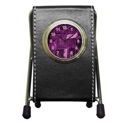Purple Background Patchwork Flowers Pen Holder Desk Clocks by BangZart
