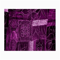 Purple Background Patchwork Flowers Small Glasses Cloth by BangZart
