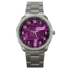 Purple Background Patchwork Flowers Sport Metal Watch by BangZart