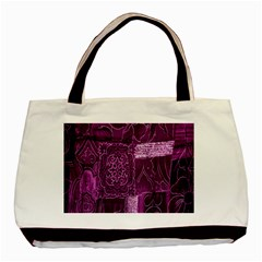 Purple Background Patchwork Flowers Basic Tote Bag by BangZart