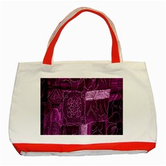 Purple Background Patchwork Flowers Classic Tote Bag (red) by BangZart