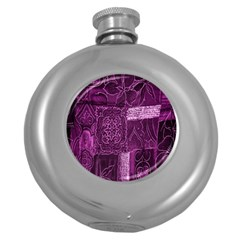 Purple Background Patchwork Flowers Round Hip Flask (5 Oz) by BangZart