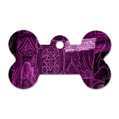 Purple Background Patchwork Flowers Dog Tag Bone (two Sides) by BangZart
