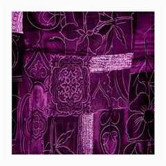 Purple Background Patchwork Flowers Medium Glasses Cloth (2 Side) by BangZart
