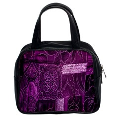 Purple Background Patchwork Flowers Classic Handbags (2 Sides)