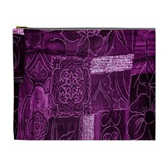 Purple Background Patchwork Flowers Cosmetic Bag (xl)