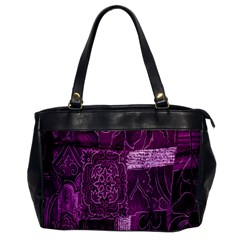 Purple Background Patchwork Flowers Office Handbags by BangZart